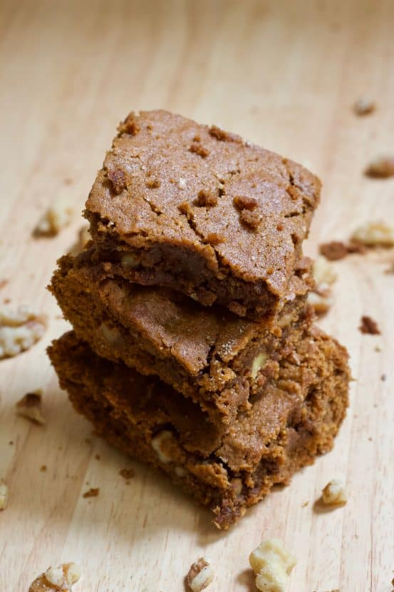Healthy Gingerbread Bars with Walnuts | Healthy Helper Healthy Gingerbread Bars made with whole grains, natural sugar, and filled with heart-healthy walnuts! The perfect snack with all the seasonal flavor you love around the holidays. Gluten-free, high protein, and absolutely delicious!