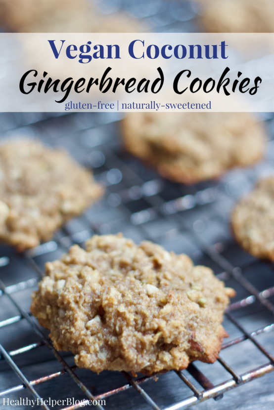Coconut Gingerbread Cookies | Healthy Helper @Healthy_Helper Soft n' chewy gingerbread cookies with a subtle taste of coconut deliciousness! Sweetly spiced and perfect for the holiday baking season. Vegan, gluten-free, and naturally sweetened.
