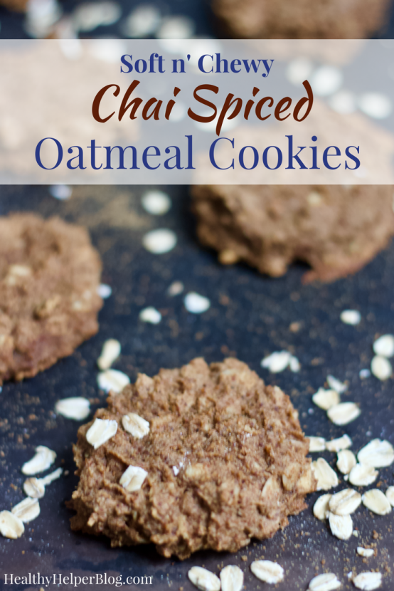 Soft n' Chewy Chai Spiced Oatmeal Cookies | Healthy Helper @Healthy_Helper Soft n' chewy Chai Spiced Oatmeal Cookies will be your new favorite treat for serving alongside a hot mug of tea or coffee! Vegan, gluten-free, and so delicious. They make the perfect snack for when you want something sweet, yet wholesome!