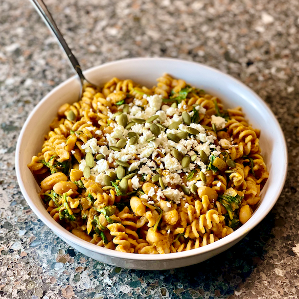 Savory Pumpkin Pasta | A one-pot vegetarian pasta dish filled with seasonal ingredients and flavors. This Savory Pumpkin Pasta is a sweet and savory comfort food meal that your whole family will love!