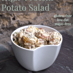 High-Protein Potato Salad via HealthyHelperBlog.com #glutenfree #lowfat #recipe #sidedish #healthy #potatoes #highprotein #mayofree #oilfree #cleaneating