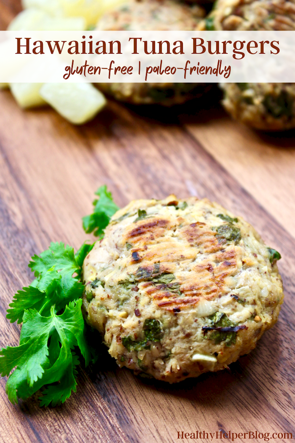 Hawaiian Tuna Burgers | Fruity, fresh, and flavorful! These Hawaiian Tuna Burgers are full of clean, lean protein and bursting with tropical flavor. Gluten-free, paleo, and low in fat, these patties will become your new go-to whenever a burger craving strikes.