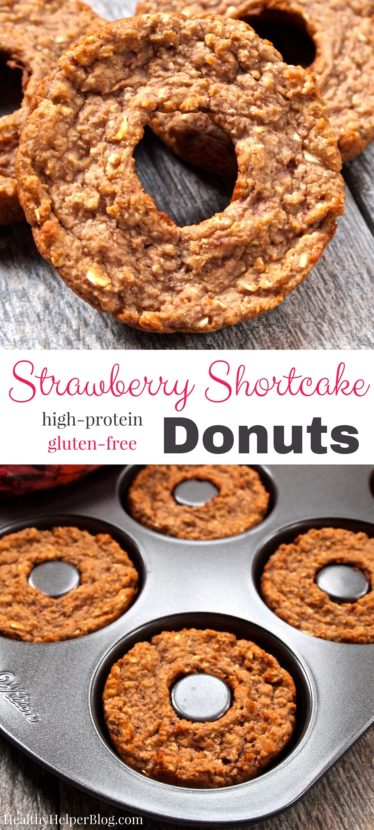 Strawberry Shortcake Donuts from @Healthy_Helper...sweet donut treats that are gluten-free and high protein! These PRO-nuts are perfect for a healthy post workout snack or a light dessert when you're craving the flavors of of your favorite summer dessert. They taste just like freshly made Strawberry Shortcake! https://healthyhelperkaila.com?utm_source=utm_source%3DPinterest&utm_medium=utm_medium%3Dsocialmedia&utm_campaign=utm_campaign%3Dblogpost