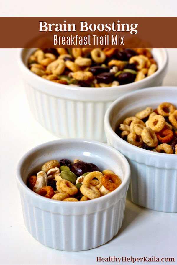 Brain Boosting Breakfast Trail Mix   Looking for a quick, healthy breakfast for on-go-eating? This Brain-Boosting Breakfast Trail Mix has all the nutrients you need to fuel up and feel energized for the day. Whole grains, healthy fats, protein, and even a bit of chocolate!