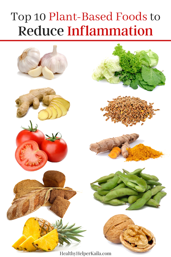 Top 10 Plant-Based Foods to Reduce Inflammation   A roundup of the top plant-based foods that reduce inflammation all over the body and contribute to overall well being.