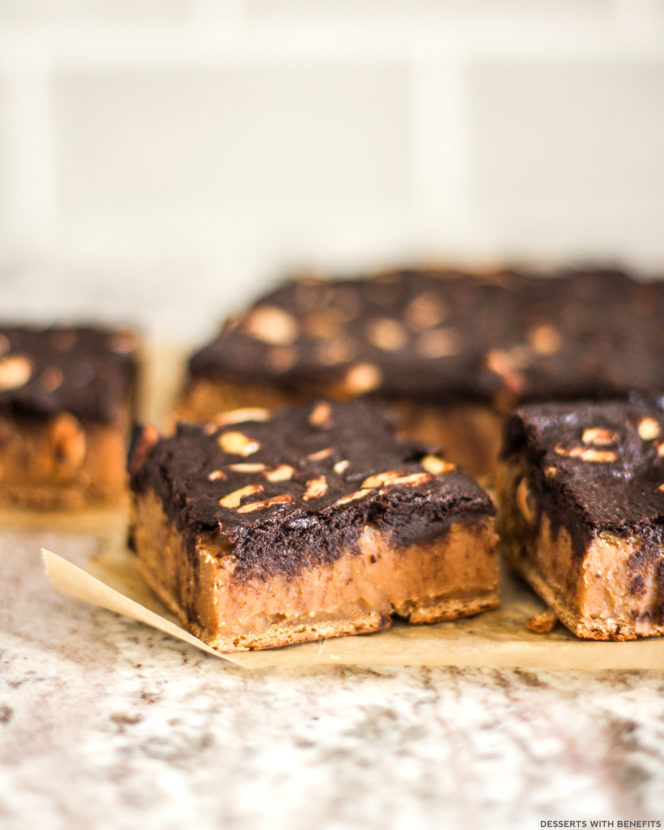 Healthy Brownie Topped Peanut Butter Blondies
