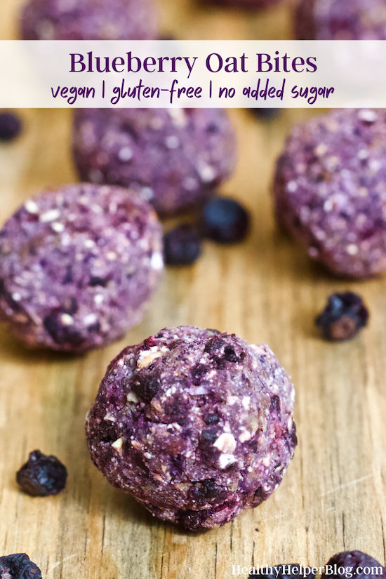Blueberry Oat Bites | Soft oat bites with all the taste and sweetness of fresh blueberries. Bursting with flavor, rich in antioxidants, and full of fiber. Vegan, gluten-free, and no added sugar!