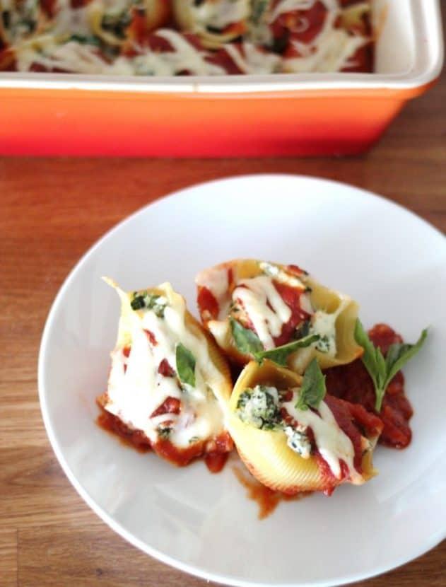 Spinach Zucchini Ricotta Stuffed Shells