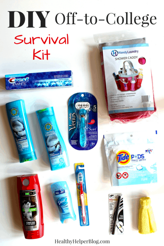 DIY Off-to-College Survival Kit | Healthy Helper @Healthy_Helper A tutorial on how to make the perfect college survival kit for a first-time or returning college student! The collegiate in your life will appreciate your thoughtful gift and be totally prepared for the semester ahead.
