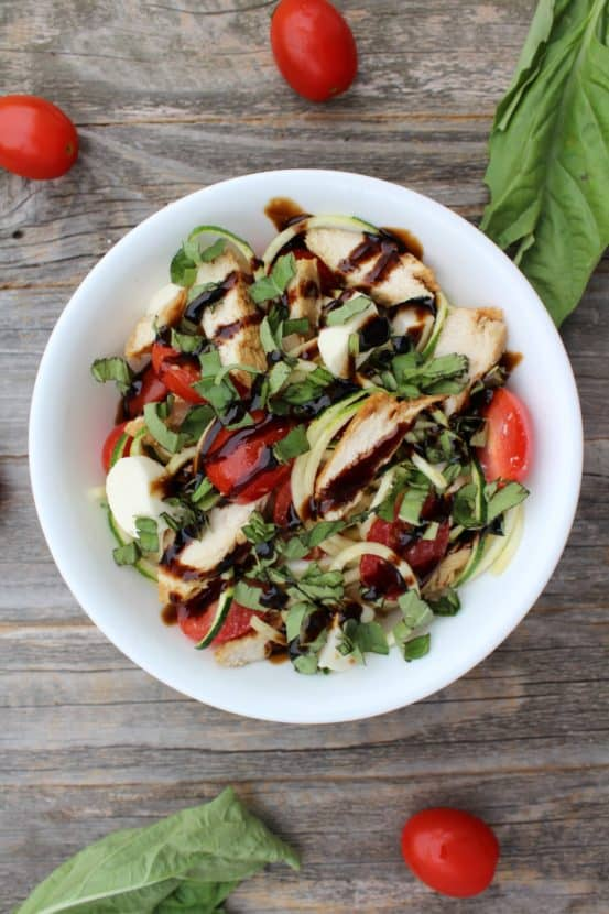 Chicken Caprese Zoodle Bowl