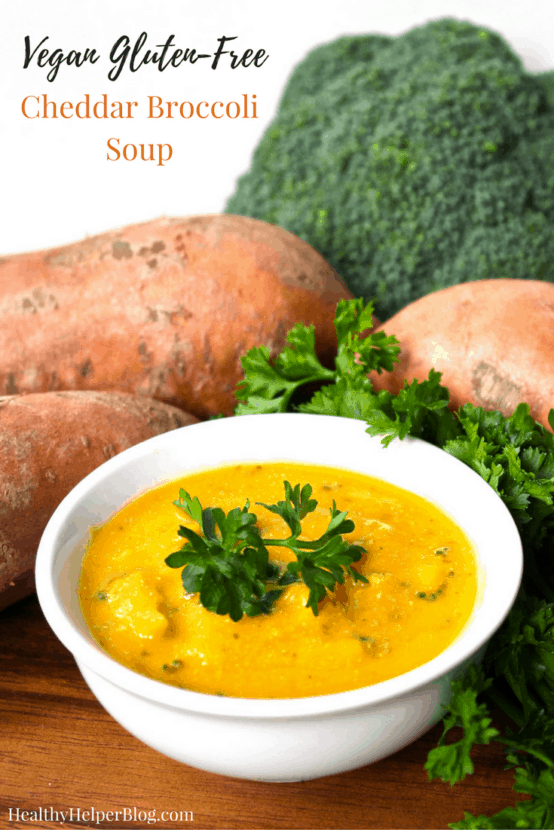 HCLF Vegan Cheddar Broccoli Soup | Healthy Helper @Healthy_Helper Vegans rejoice! This Cheddar Broccoli Soup will warm your tum without violating your dietary principles! High-carb, low fat, full of veggies, and gluten-free. You'll love the cheesy, creaminess of this delicious recipe minus the dairy, nuts, or soy!