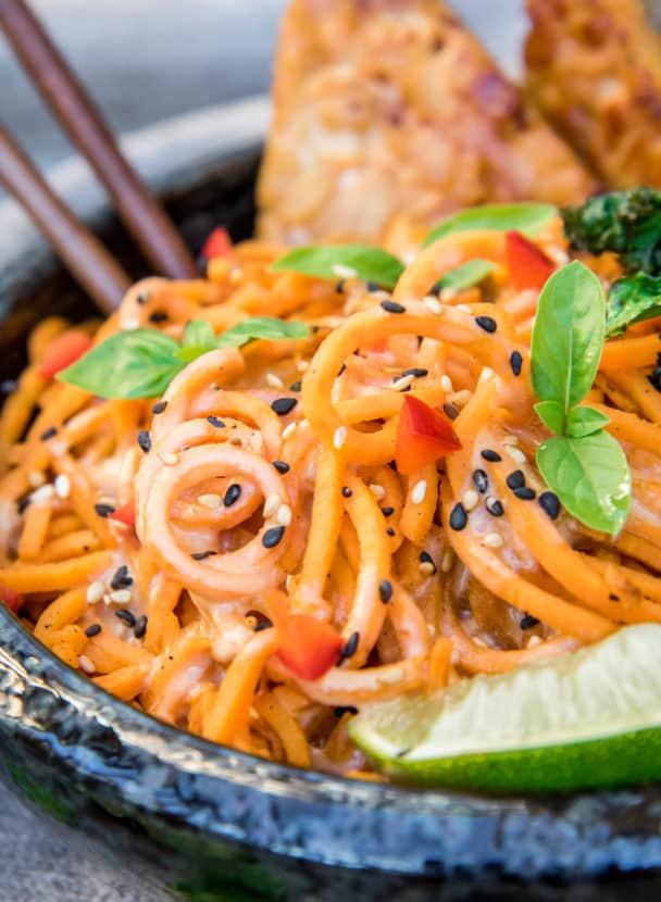 Creamy Sweet Potato Noodles with Garlic Tempeh and Crispy Kale | Healthy Helper @Healthy_Helper