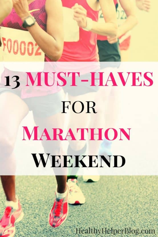 13 MUST-HAVES for Marathon Weekend   Healthy Helper @Healthy_Helper A roundup of all the important gear, fuel, equipment, and apparel I'll be bringing with me to get me thru my first marathon! Anticipating a weekend full of fun and memories, these products will be with me as I attempt to achieve my ultimate running goal. Plus, some tips from veteran marathoners and their advice to first timers!