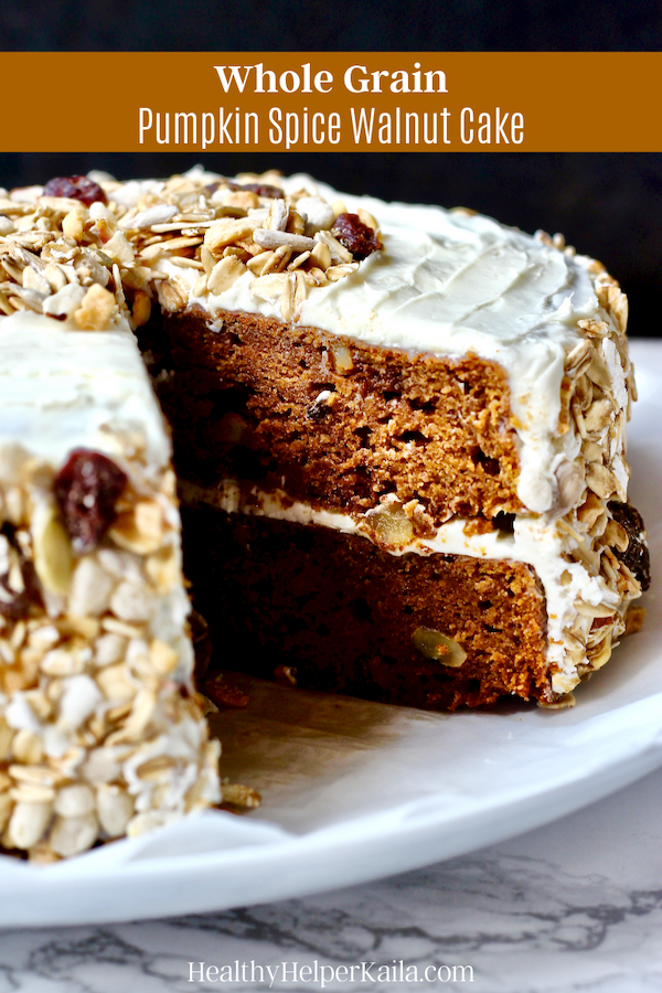 Whole Grain Pumpkin Spice Walnut Cake | Delicious pumpkin cake studded with rich walnuts and topped with decadent cream cheese frosting! A lighter, healthier option for homemade dessert during the holidays. This easy to make, from scratch cake is a family favorite and guaranteed crowd-pleaser. Made with whole grains and REAL food ingredients!