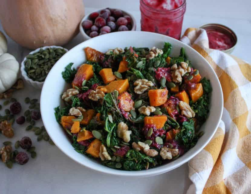 Butternut Squash and Kale Salad with Easy Cranberry Dressing | Healthy Helper @Healthy_Helper