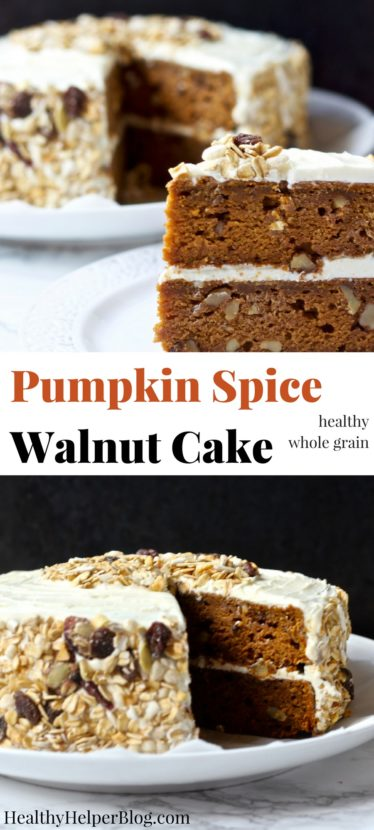 Pumpkin Spice Walnut Cake | Healthy Helper @Healthy_Helper Delicious pumpkin cake studded with rich walnuts and topped with decadent cream cheese frosting! A lighter, healthier option for homemade dessert during the holidays. This easy to make, from scratch cake is a family favorite and guaranteed crowd-pleaser. Made with whole grains and REAL food ingredients!