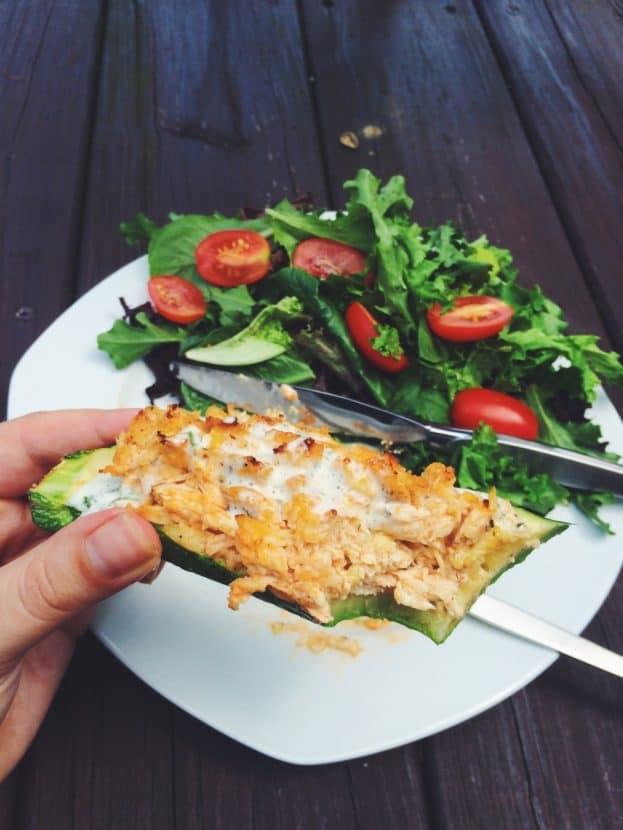Buffalo Chicken Zucchini Boats | Healthy Helper @Healthy_Helper