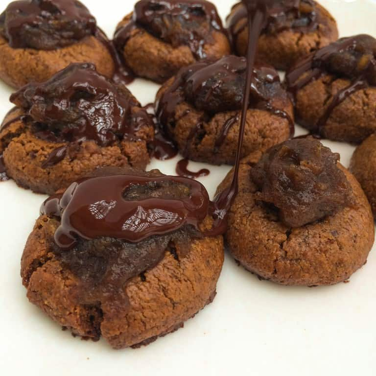 Chocolate Drizzled Caramel Thumbprint Cookies | Healthy Helper @Healthy_Helper