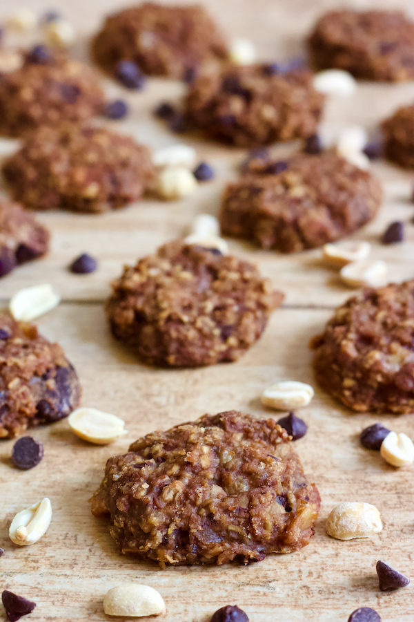 Chunky Monkey Cookie Bites | These delectable Chunky Monkey Cookie Bites are everything you could want in a healthy treat! Vegan, gluten-free, no added sugar, and FULL of chocolate goodness. Perfect for snacking on the go!
