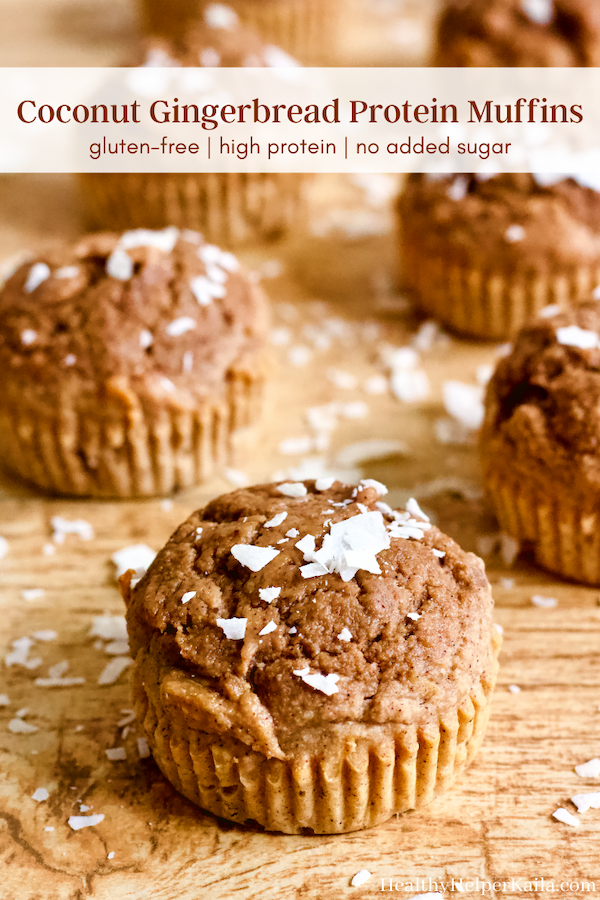 Coconut Gingerbread Protein Muffins | Soft and fluffy gingerbread muffins with the sweet flavor of coconut! Gluten-free, high protein, and no added sugar...these muffins are perfect for enjoying year round.