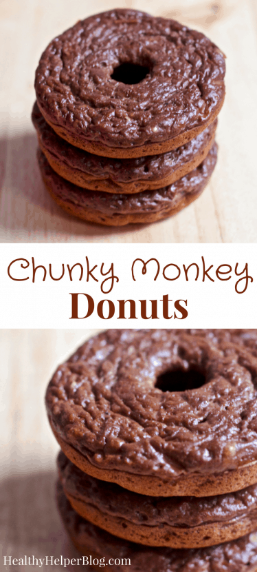 Chunky Monkey Donuts   Healthy Helper @Healthy_Helper Chocolate, peanut butter, and banana deliciousness all in one amazing homemade donut recipe! By combining a few simple, real food ingredients you get a batch of soft n' fluffy donuts that are sweet and perfectly healthy for snacking on whenever a donut craving strikes. Gluten-free and high protein!