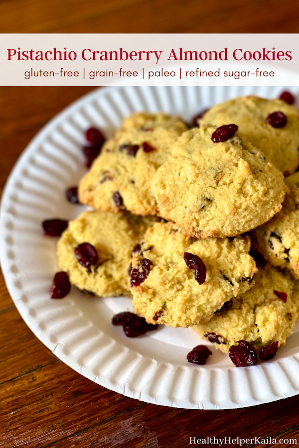 Pistachio Cranberry Almond Flour Cookies | Delightfully chewy n' light paleo cookies made with almond flour and no refined sugars! Studded with sweet cranberries and salty shelled pistachios, these cookies are gluten-free, grain-free, and perfect for the holiday season! A healthy, delicious addition to your dessert table.