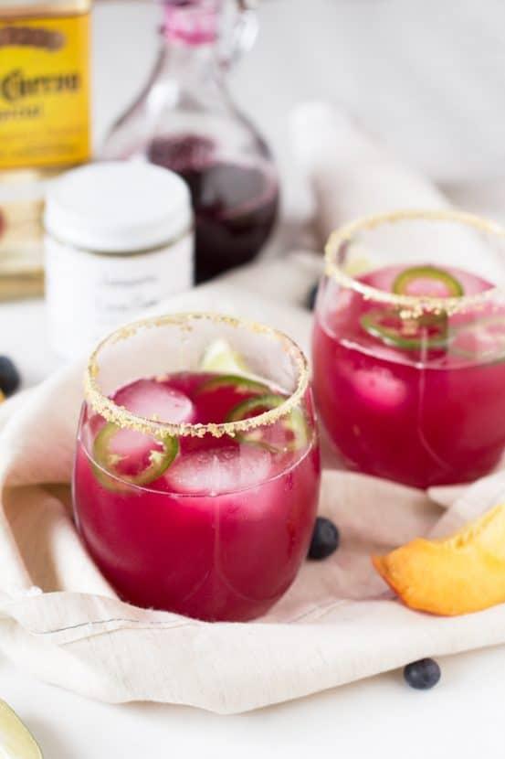 Spicy Blueberry Peach Margaritas   Healthy Helper @Healthy_Helper