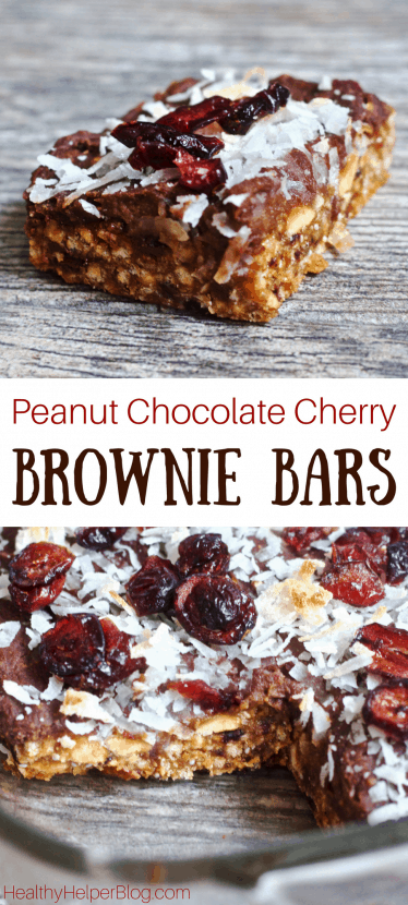 Layered Peanut Chocolate Cherry Brownie Bars   Healthy Helper @Healthy_Helper Deliciously decadent layered brownie bars with rich chocolate, tart cherries, and creamy peanut flavor throughout! Gluten-free, vegan, and only 5 ingredients. These bars are super easy to make and perfect for sharing with friends!