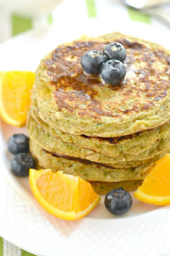 Zucchini Greek Yogurt Pancakes | Healthy Helper @Healthy_Helper