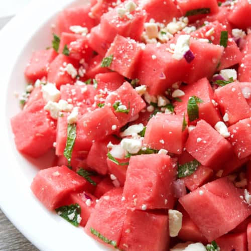 Watermelon Feta Mint Salad | Healthy Helper @Healthy_Helper