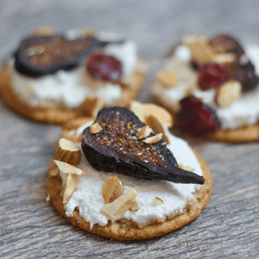 Creamy Almond and Fig Crackers Stacks | Healthy Helper @Healthy_Helper A creamy, crunchy appetizer that everyone will love! Layered with rich almond butter, mild ricotta cheese, and sweet figs these cracker stacks are everything you could want in a snack. High in protein, low in fat, full of whole grain fiber, and perfect for sharing with others!