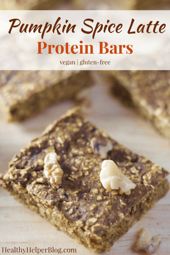 Pumpkin Spice Latte Protein Bars | Healthy Helper @Healthy_Helper Your favorite fall beverage in PROTEIN BAR form! Take your Pumpkin Spice Latte on the go for munching pre- or post-workout with these delicious vegan, gluten-free bars! Soft, doughy, and full of plant-based protein. It's totally fine to be basic with your snacks.