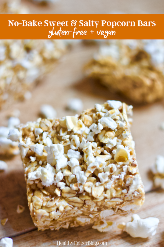 No-Bake Sweet and Salty Popcorn Bars | The sweet n' salty snack bar of your dreams is here! These Honey Peanut Butter Popcorn bars are sure to delight any taste buds. No baking required, gluten-free, and easily made vegan, too!