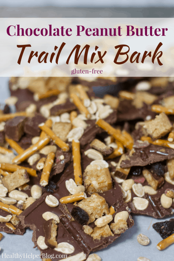 Chocolate Peanut Butter Trail Mix Bark | Healthy Helper @Healthy_Helper Deliciously rich chocolate bark swirled with creamy peanut butter and topped with all of your favorite trail mix ingredients! This easy to make treat is the perfect mix of salty n' sweet. Great for satisfying cravings and keeping you satisfied with its healthy fats and high protein content!