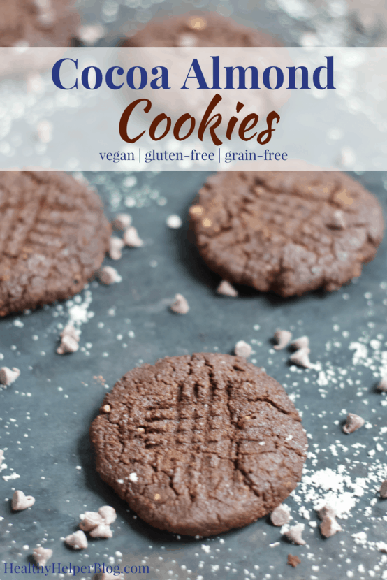 Cocoa Almond Cookies | Healthy Helper @Healthy_Helper Soft-baked, buttery chocolate cookies with a subtle hint of rich almond flavor! These Cocoa Almond Cookies will be your new favorite treat for the holidays. Less than 6 ingredients, vegan, gluten-free, and grain-free.