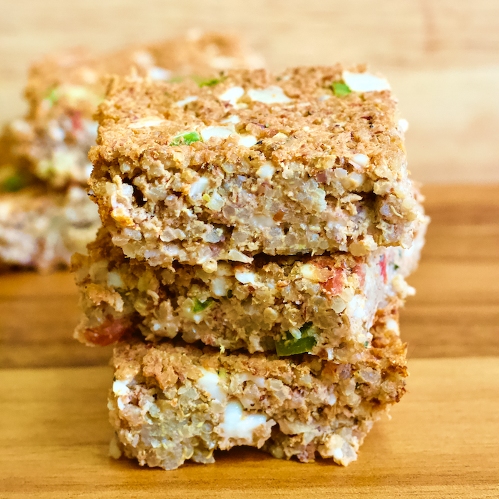 Savory Vegan Italian Quinoa Bites | These savory snack bars are full of whole grains, vegan protein, and real food ingredients! Vegan Savory Italian Quinoa Bars will be your new favorite easy breakfast. Gluten-free, fiber-rich, and totally plant-based.