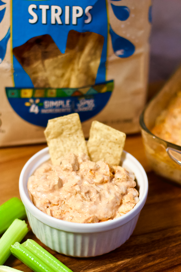 Vegan Buffalo Chicken Wing Dip | All the flavor of your favorite BIG GAME snack staple without any animal products! Creamy, cheesy, and so crave-worthy. This rich-tasting appetizer is the perfect easy recipe for sharing with friends and family while rooting your favorite team to victory!
