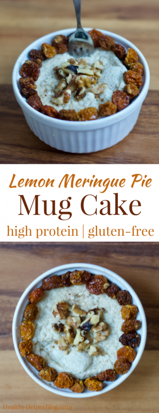 Lemon Meringue Pie Mug Cake | Healthy Helper @Healthy_Helper Sweet, zesty, and citrusy...this Lemon Meringue Pie Mug Cake will be your new favorite protein packed snack to refuel after a workout or keep your energy levels stable all day! Gluten-free, low-cal, low-fat, and so easy to make. In less than 2 minutes, you'll be in snack heaven with a healthy treat that tastes like dessert!