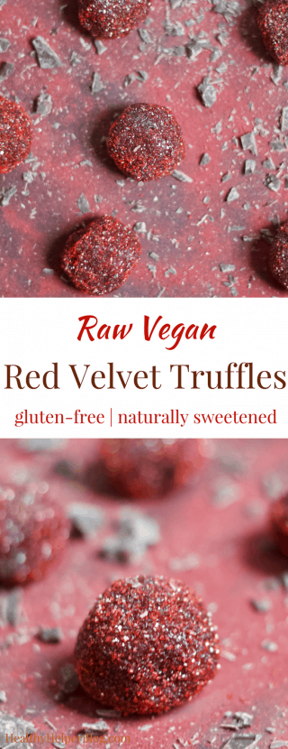 Raw Vegan Red Velvet Truffles   Healthy Helper @Healthy_Helper Dense, fudgy dark chocolate truffles filled with all the flavor you love about Red Velvet desserts. These Red Velvet Truffles are raw, vegan, and perfect for showing that special someone how much you care!