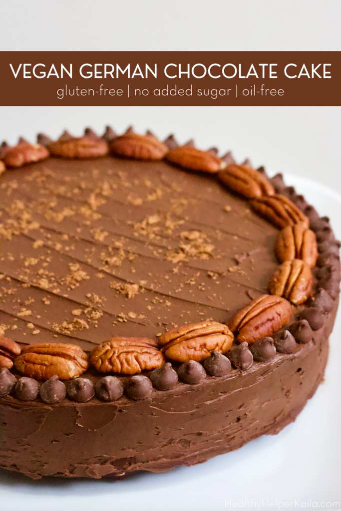 Vegan Gluten-Free German Chocolate Cake | The ultimate healthy chocolate cake that tastes like a traditional German Chocolate Cake. Vegan, gluten-free, and no added sugar, this dessert will be a hit with the whole family whether they're vegan or not. It's also oil-free and filled with nutty goodness!