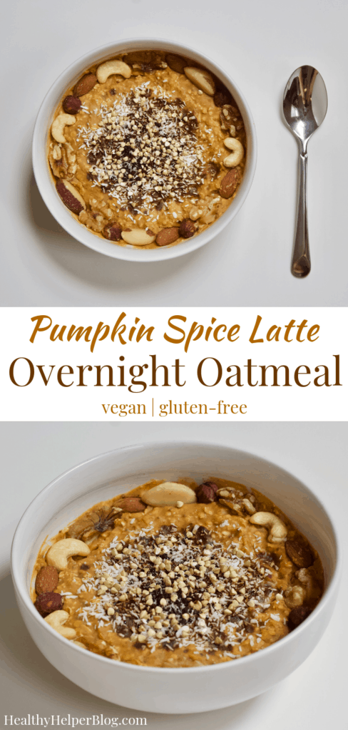 Pumpkin Spice Latte Overnight Oatmeal | Healthy Helper Your favorite seasonal flavor infused into an easy, healthy breakfast you can make all week-long. This Pumpkin Spice Overnight Oatmeal is vegan, gluten-free, full of plant-based protein, and have no added sugar. It's simple to make ahead of time and is a delicious, filling way to start your day.