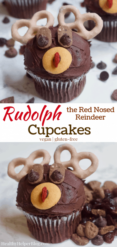 Rudolph the Red-Nosed Reindeer Cupcakes | Healthy Helper Delicious chocolate cupcakes decorated to the likeness of Rudolph, the Red-Nosed Reindeer! The ULTIMATE holiday treat to make for your friends and family. Vegan, gluten-free, and naturally sweetened.