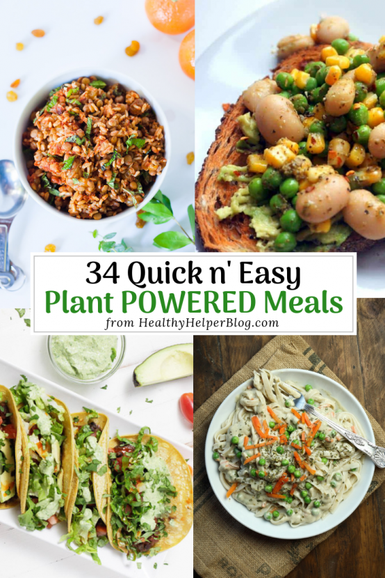 34 Quick & Easy Plant Powered Recipes | A delicious roundup of 34 quick and easy plant powered meals to make for you and your family! Full of veggies, plant-protein, fiber, and all the nutrients you need for a filling meal, these simple to make meals will be your new weeknight staples when you want something healthy AND fast.
