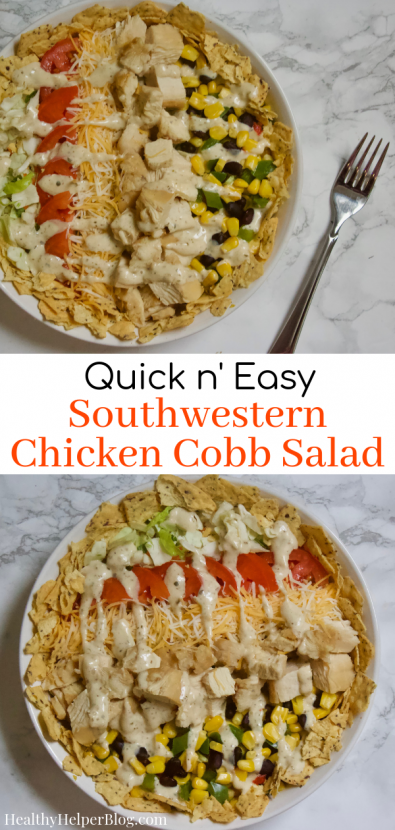 Quick n' Easy Southwestern Chicken Cobb Salad | A lightened-up version of a traditional chicken Cobbsalad with a Southwestern twist! Made with fresh veggies, grilled chicken, beans, low-fat cheese, and yogurt-based ranch dressing. A perfectly balanced meal with tons of flavor and healthy ingredients!