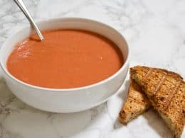 10 Minute Tomato Soup - Better Than Campbell's | The BEST homemade tomato soup you'll ever have! This copycat Campbell's recipe is vegan, gluten-free, low in fat & calories, and is ready in LESS than 10 minutes.