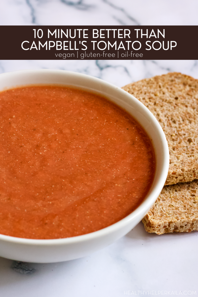 10 Minute Better Than Campbell's Tomato Soup | The BEST homemade tomato soup you'll ever have! This copycat Campbell's recipe is vegan, gluten-free, low in fat & calories, and is ready in LESS than 10 minutes.