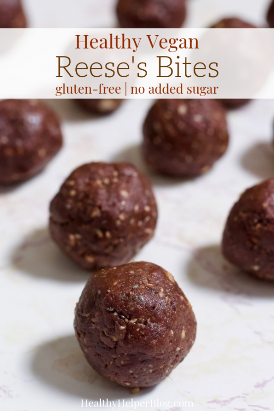 Healthy Vegan Reese's Bites | Chocolate peanut butter bites with the creamy, richness of a truffle and the wholesomeness of a healthy homemade treat. Filled with healthy fats, whole grains, and natural sugars, these Reese's Bites will be your new favorite way to satisfy your sweet tooth. Vegan, gluten-free, and absolutely delicious!