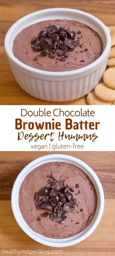 Double Chocolate Brownie Batter Dessert Hummus | Rich double chocolate dessert hummus that tastes like freshly mixed brownie batter! Creamy, smooth, and just sweet enough to satisfy all your chocolate cravings. Vegan, gluten-free, and low in sugar.