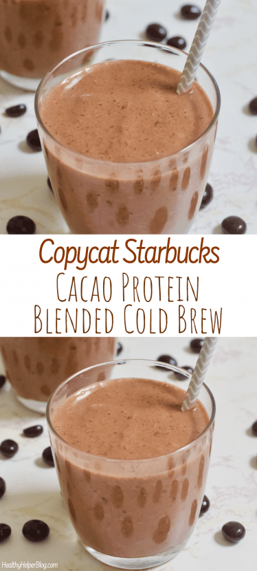 Copycat Starbucks Cacao Protein Blended Cold Brew | A homemade version of Starbucks' Cacao Protein Blended Cold Brew. Vegan, gluten-free, and no added sugar with the most creamy, delicious texture. A healthy, energizing frozen beverage!