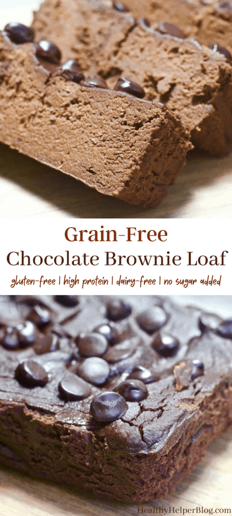 Grain-Free Chocolate Brownie Loaf | A fudgy, decadent brownie-like treat in loaf form! This Grain-Free Chocolate Brownie Loaf is gluten-free, dairy-free, no added sugar, and high protein. The ultimate healthy chocolate treat.